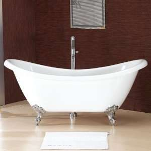 69 Candace Double Slipper Acrylic Clawfoot Tub   (Brushed