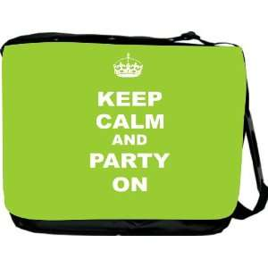 Rikki KnightTM Keep Calm and Party On   Lime Green Color Messenger Bag