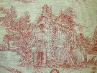 Pastorale Toile Red French Designer Fabric Linen