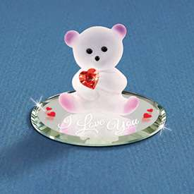 New Glass Baron® Bear Red Crystal Heart Glass Figurine