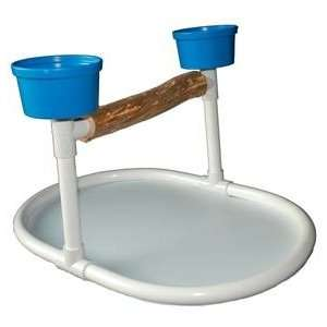 Table Top Bird Play Stand PVC w/ 2 Feeding Cups Pet
