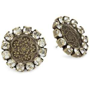 Liz Palacios Piedras Antiqued Swarovski Crystal Earrings