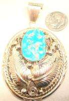 Sterling Silver Sleeping Beauty Turquoise Navajo Signed Necklace