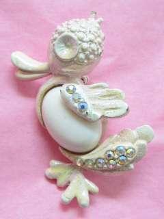 Vintage Pink Duck Aurora Borealis Rhinestone Brooch Pin