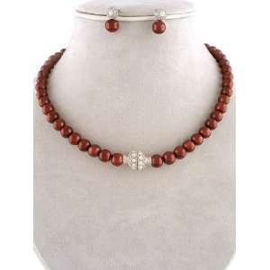 Fashion Jewelry ~ Burgundy Glass Pearls Necklace and