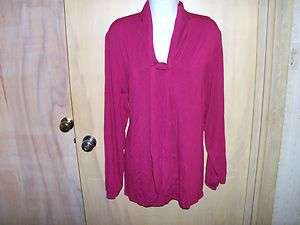 new womans maroon long sleeve top ,shirt,blouse, by SILHOUETTES size