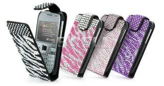 Ecell Designer Range   Leather Bling Flip Case for Nokia E72   Black