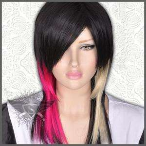 GW342 Black Cosplay Party Long Straight Gothic Punk Rock Wig