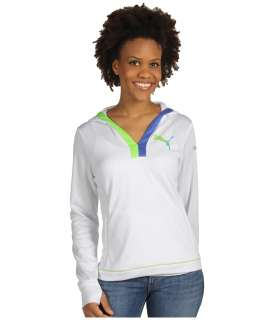 PUMA CAT White Soccer FITNESS GYM Hooded TOP SHIRT Pullover LG WOMENS