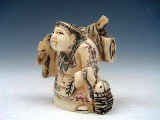 Ox Bone Highly Detailed Hand Carved Netsuke Sculpture Man Holds Case