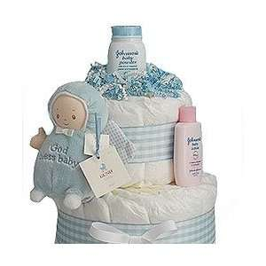 Lil God Bless Baby Blue 2 Tier Diaper Cake Baby