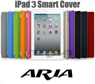 iPad 3 Smart Cover Slim Magnetic PU Leather Case Wake/ Sleep Stand