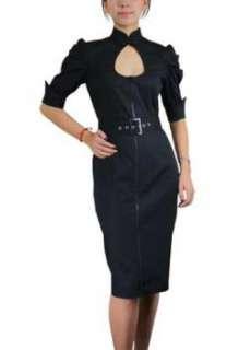 Tear Drop Pencil Dress Rockabilly Black 50s Victorian Sleeves Zipper