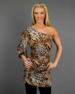 WOMANS PLUS SIZE BROWN & GRAY ANIMAL PRINT ONE SHOULDER TOP 3XL 22/24