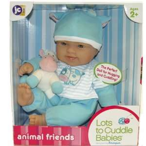 Lots To Cuddle Doll Dressed in Blue with Cow: Toys & Games