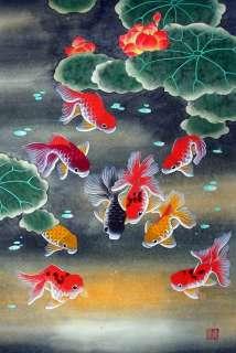 Chinese Large Painting Feng Shui Huge Art Nine Koi Fish qy13