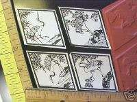 ORIENTAL CRANES UNMOUNT RUBBER STAMPS, ELEGANT ASIAN