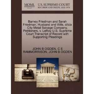 Barney Friedman and Sarah Friedman, Husband and Wife, d/b