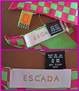 ESCADA Magenta Fuchsia Pink Leather Bucket Tote bag NWOT Mtching SILK