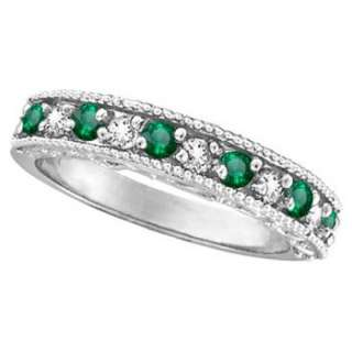 Green Emerald Diamond Ring 14k White Gold Wedding Band