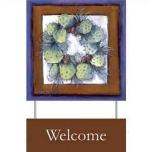 90460808 Cactus Wreath Welcome Sign   Freda Pongetti