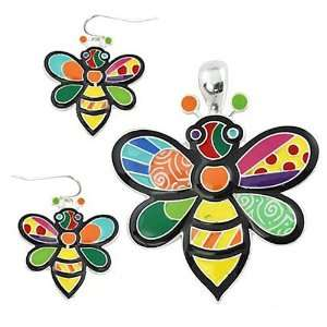 Multi Colored Epoxy Bumble Bee Pendant and Earrings Set Jewelry