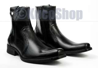 Mens Fashion Mid Ankle Dress Boots Shoes Black Zippered Size 9