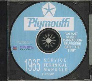 PLYMOUTH 1965 Barracuda/Fury/Valiant Shop Manual CD 65