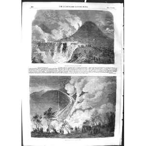 1855 Eruption Mount Vesuvius Volcano Mountain Print
