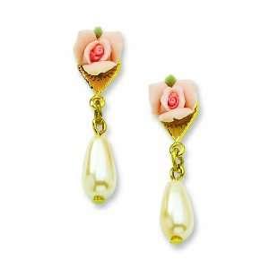 Gold Tone Porcelain Rose/Cultura Glass Pearl Teardrop Post