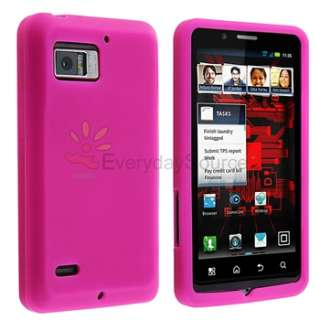 Pink Gel Soft Case+LCD Privacy Film+Car Charger For Motorola Droid