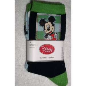 Mickey Mouse Boys Socks, 2 pair, Size Small, Shoe size 9