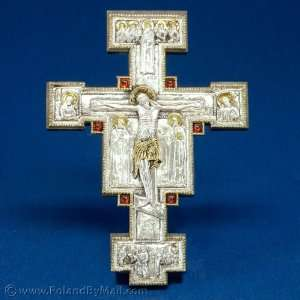 Silver Plated Giotto Cross   Wall Hanging #1 (8x12): Home