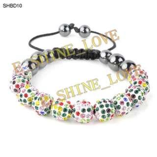 10mm Disco Ball(11Pcs) Crystal Macrame Bracelets+Gift Box 20 Mix