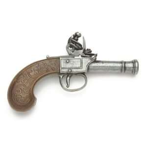 MENS POCKET FLINTLOCK PISTOL GRAY FINISH NON FIRING