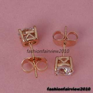 New 18K Rose Gold GP Swarovski Crystal one Solitaire Ear Studs