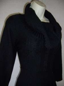 MAX AND CLEO BCBG Black 3/4 Sleeve Cowl Draped Neck Sweater Dress XL