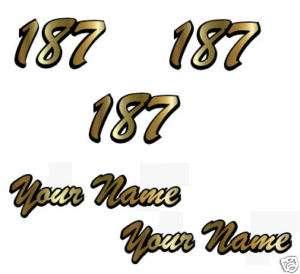 Number Plate & Helmet Name w Outline Set MX ATV Brush