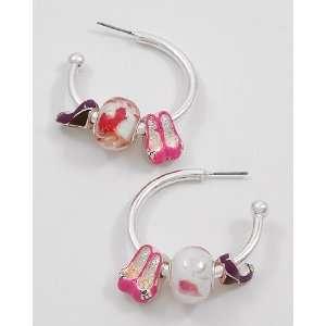 Swirly Pink Murano Glass Beads & Ornate Silver High Heel Shoe Charms