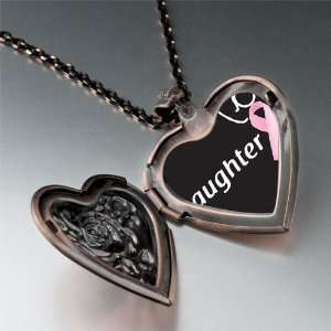 Daughter Support Pink Ribbon Pendant Necklace Pugster