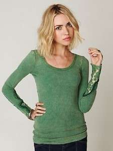 NEW FREE PEOPLE Newbie Long Sleeve Lace Crafted Cuff Thermal Top Kelly
