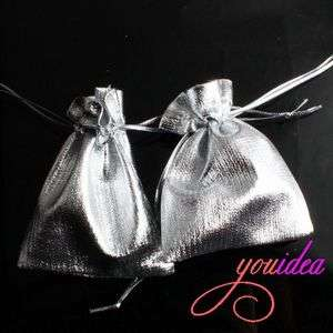 50* Sliver Wedding Favor Pouch Gift Bags 7*9cm 120030