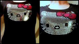 HELLO KITTY FACE PINK BOW SEQUIN T SHIRT~S M L XL 2X 3X