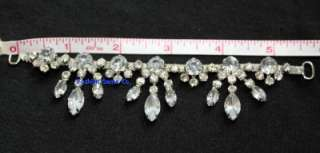 diamante rhinestone crystal bridal costume applique decoration silver