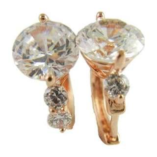 Rose Gold Filled 9K GF AAA Zircon 3.25ctw Womens Hoop Earrings