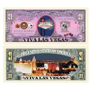 Las Vegas Sin City Gambling 21 Dollar Bill Case Pack 100