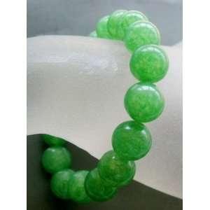 Green Jade Gemstone Sphere Beads Elastic Bracelet