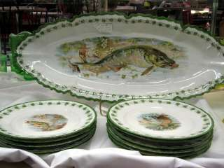 Porcelain Fish Platter w 11 Plates With Marking Austria