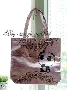 Panchi & Nana Panda Bear Nonwoven Shopping HandBag Shoulder Bag  Black