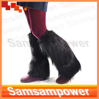 Women Black Faux Fur Furry Leg Winter Warmers Socks Boot Covers